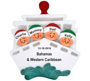 Cruisin' Family of 4 Out to Sea Christmas Ornament Personalized by Russell Rhodes