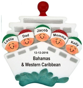 Cruisin' Family of 5 Out to Sea Christmas Ornament