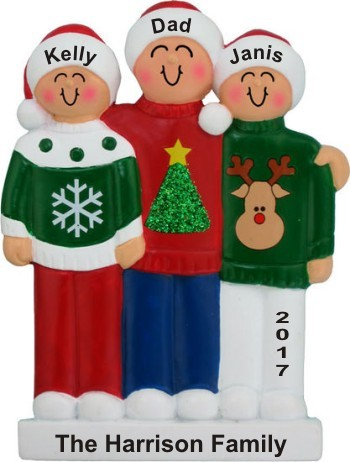 Single Dad 2 Kids Holiday Sweaters Christmas Ornament Personalized by Russell Rhodes