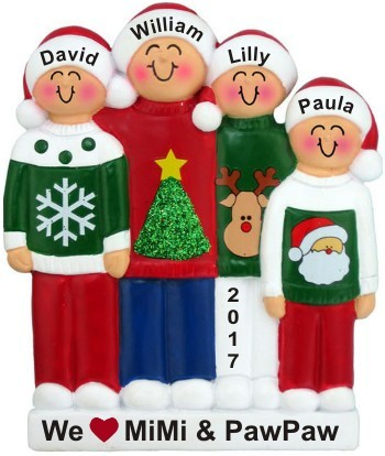 4 Grandkids Holiday Sweaters Love for Grandparent(s) Christmas Ornament