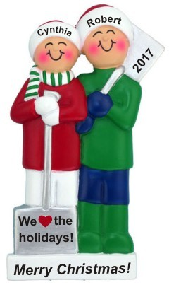 White Xmas Couple Christmas Ornament Personalized by Russell Rhodes