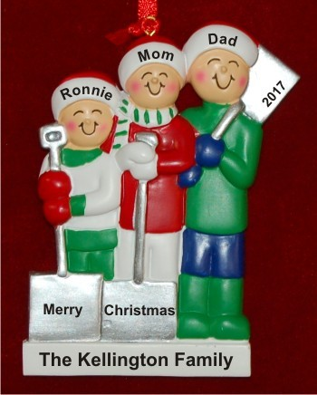 White Xmas Family of 3 Christmas Ornament Personalized by Russell Rhodes