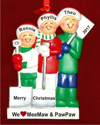 3 Grandkids White Xmas Love for Grandparent(s) Christmas Ornament