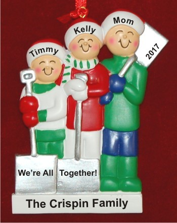 Single Mom 2 Kids White Xmas Christmas Ornament Personalized by Russell Rhodes