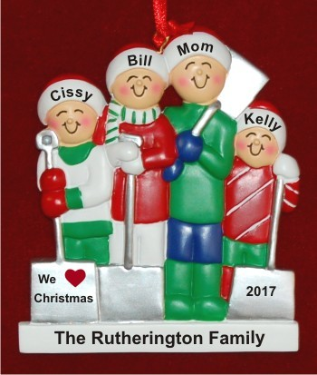 Single Mom 3 Kids White Xmas Christmas Ornament Personalized by Russell Rhodes