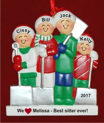 4 Kids White Xmas Baby Sitter Gift Christmas Ornament Personalized by Russell Rhodes
