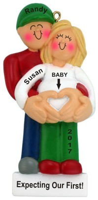 Pregnant Female Blond Expecting 1st Baby Christmas Ornament Personalized by Russell Rhodes
