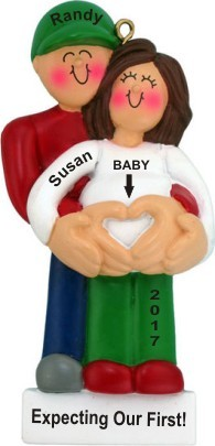 Pregnant Female Brunette Christmas Ornament Personalized by Russell Rhodes