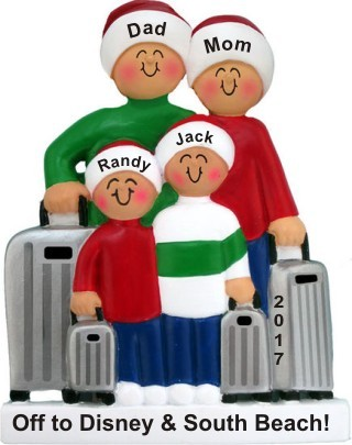 Traveling Family of 4 Christmas Ornament Personalized by Russell Rhodes