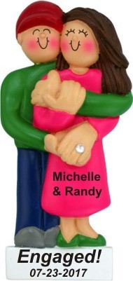 Engagement Female Brunette Christmas Ornament Personalized by Russell Rhodes