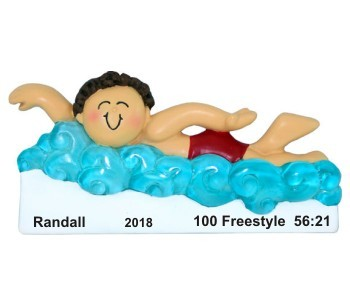 Swimming Achievement Male Brunette Christmas Ornament Personalized by Russell Rhodes
