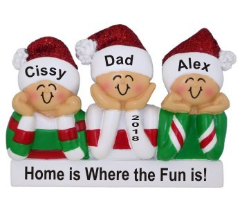 So Cute Single Dad 2 Kids Christmas Ornament Personalized by Russell Rhodes