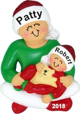 Older Sister with Baby Christmas Ornament Personalized by Russell Rhodes