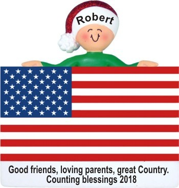 My Country 'Tis of Thee Christmas Ornament Personalized by Russell Rhodes