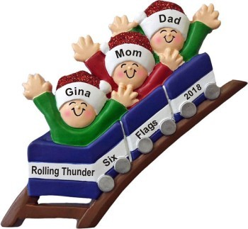 Roller Coaster All Aboard for Family of 3 Christmas Ornament Personalized by Russell Rhodes
