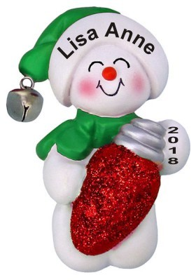 Darling Snowman with Holiday Bulb | Hand Personalized ...