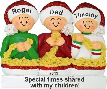 Stringing Popcorn Single Dad 2 Children Christmas Ornament Personalized by Russell Rhodes