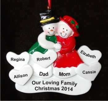 Surrounded by Love 5 Hearts Christmas Ornament