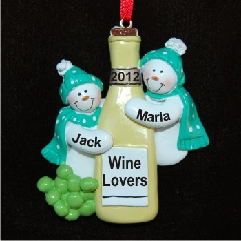 White Wine for Friends Personalized Christmas Ornaments