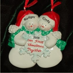 Snow Couple Snowflake Personalized Christmas Ornament Personalized by Russell Rhodes