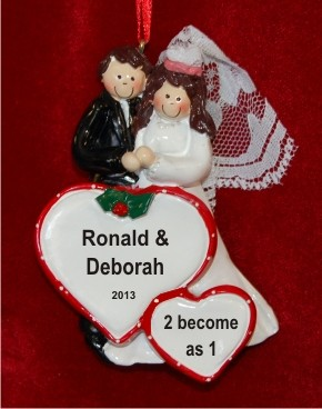 Our Wedding Both Brunette Personalized Christmas Ornament
