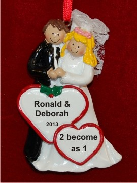 Our Wedding Male Brunette Female Blond Personalized Christmas Ornament