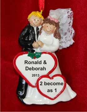Our Wedding Male Blond Female Brunette Personalized Christmas Ornament