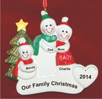 Pregnant Couple with Child Personalized Christmas Ornament Personalized by Russell Rhodes