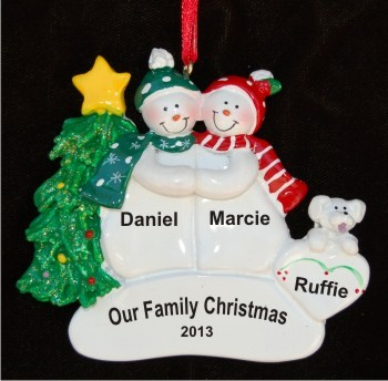 Snow Couple Together + White Dog Personalized Christmas Ornament
