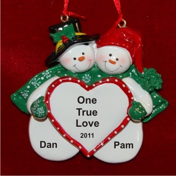 Snow Couple In Love Personalized Christmas Ornament