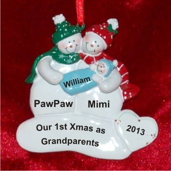 Our First Christmas as Grandparents with Baby Boy Christmas Ornament