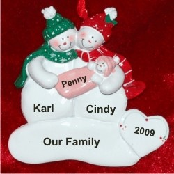 Snow Couple with Baby Girl Personalized Christmas Ornament
