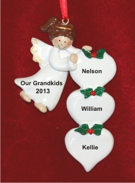 Brunette Angel for my 3 Grandkids Personalized Christmas Ornament