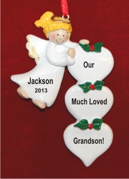 Blond Angel for Grandson Personalized Christmas Ornament