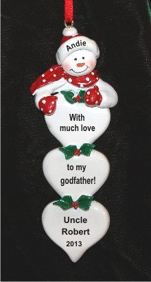 Lots of Love From Godchild to Godfather Christmas Ornament