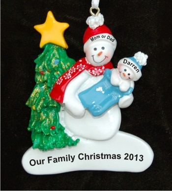 Single Parent with Baby in Blue Christmas Ornament Personalized by Russell Rhodes