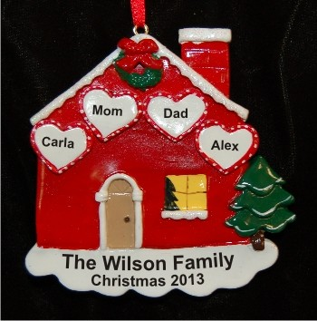 Loving Household Family of 4 Personalized Christmas Ornament