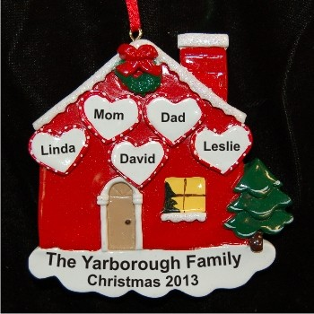Loving Household Family of 5 Personalized Christmas Ornament