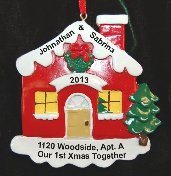 Christmas Cottage Our First Christmas Together Christmas Ornament Personalized by Russell Rhodes