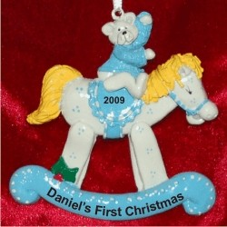 Rocking Horse Blue Personalized Christmas Ornament Personalized by Russell Rhodes
