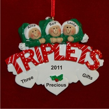 In Celebration of Triplets Christmas Ornament