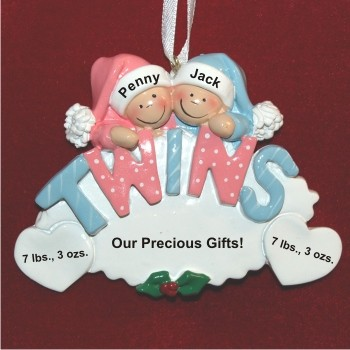 Twins: Girl & Boy Christmas Ornament Personalized by Russell Rhodes