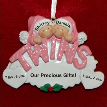 Twin Girls Personalized Christmas Ornament