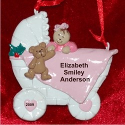 Baby Buggy Girl Brown Hair Personalized Christmas Ornament