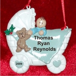 Baby Buggy Boy Brown Personalized Christmas Ornament