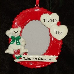Twins' First Christmas Photo Frame Personalized Christmas Ornament