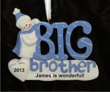 Snowman Celebrates Big Brother Christmas Ornament