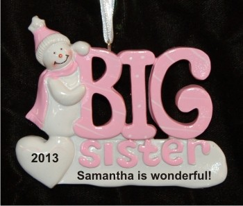 Snowman Celebrates Big Sister Christmas Ornament Personalized by Russell Rhodes