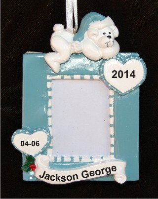 Boy Baby Frame Christmas Ornament Personalized by Russell Rhodes