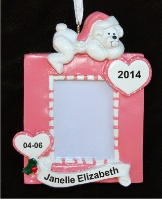 Girl Baby Frame Christmas Ornament Personalized by Russell Rhodes
